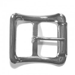 Stamped Center Bar Buckle with False Roller, Nickel Plated