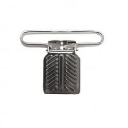 Suspender Clip with Herring Bone, Nickel Plated