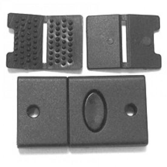 Lanyard Plastic Connector 4 Parts, Black Plastic - (PL-2345)