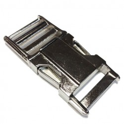 Straight Adjustable Side Release Buckle, Zinc Die Cast, High Polish Nickel Finish