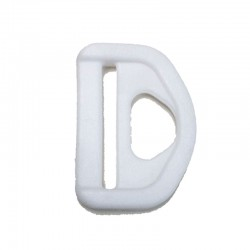 Five Side Slotted D-Ring, White Plastic